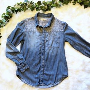 Urban Outfitters Embroidered Chambray Denim Top